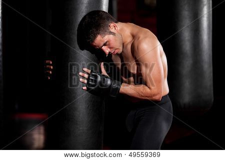 Training with a punching bag
