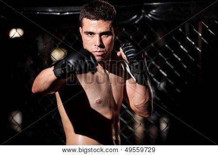 MMA Fighter waiting for an opponent
