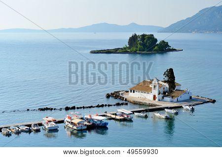 small church on Mouse Island, Corfu, Greece