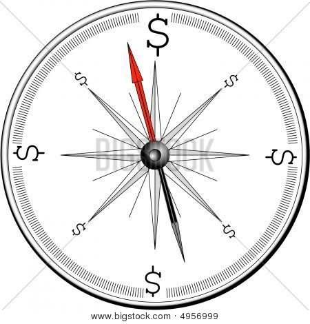Compass With Dollar Sign Directions