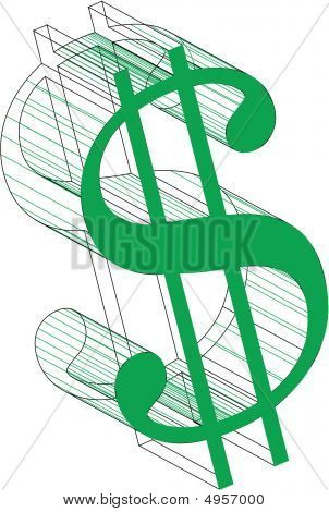 Green Dollar Sign With Wireframe