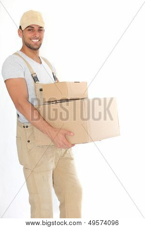 Young Delivery Man Carrying Packages