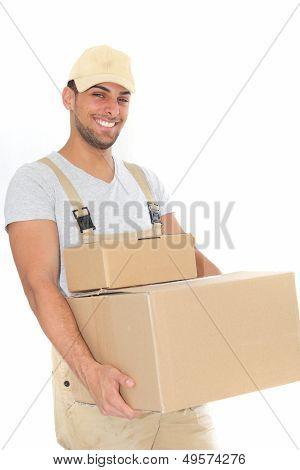 Confident Young Man Carrying Cardboard Boxes