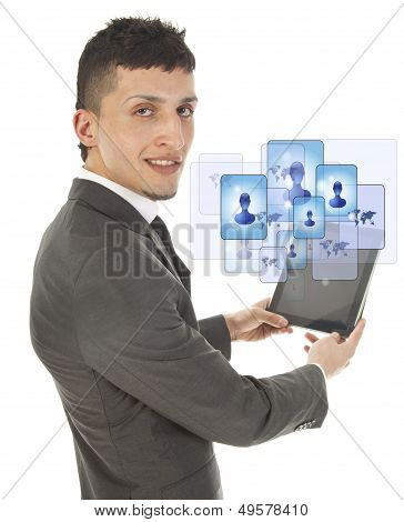 Young Man Holding A Black Tablet With Social Friends Isolated On White