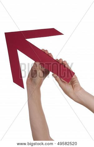 Hands Holding A Rising Arrow