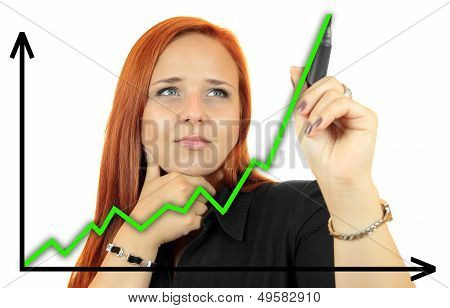 Business success growth chart. Business woman drawing graph showing profit growth on virtual screen.