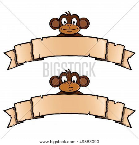 Monkey with ribbon banner