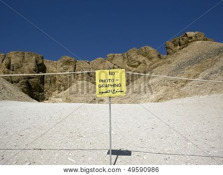 Sign prohibiting photography at Valley of the Kings. West bank of the river Nile Thebes UNESCO World Heritage Site Egypt North Africa Africa