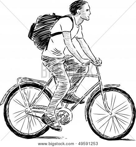 Young Man On A Bicycle.eps