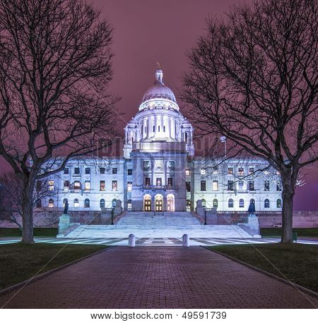 Rhode Island State House in Providence, Rhode Island, USA illuminated at night.