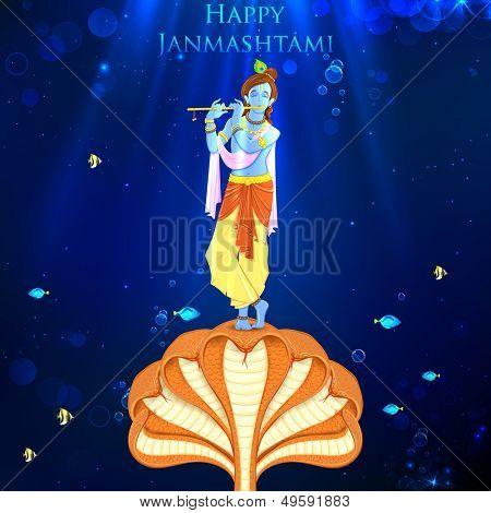 illustration of Krishna dancing on Kaliya naag