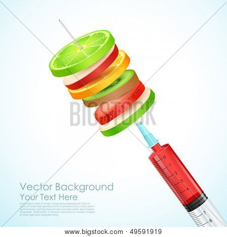 illustration of healthy fruit slices in syringe needle