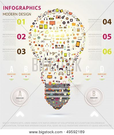 Icons light bulb. Business infographic template. Diagrams and icons set. Numbered banners. Minimal style design for business graphic. Cutout lines and other website design elements.
