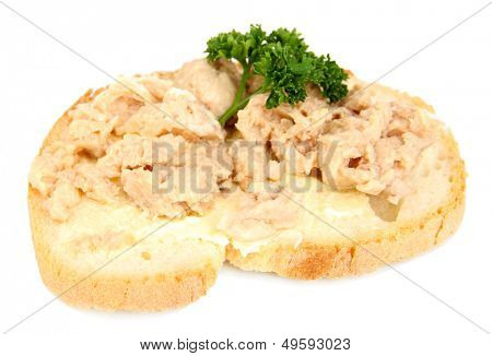 Tasty sandwiches with  cod liver, isolated on white