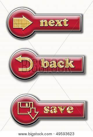 Three Stylish Red Volume Buttons