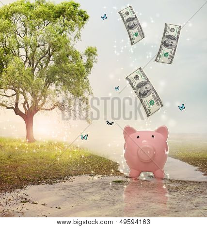 Dollar Bills Falling In Or Flying Out Of A Piggy Bank In A Magical Landscape