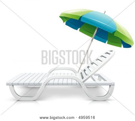 White Deck-chair With Umbrella Beach Inventory