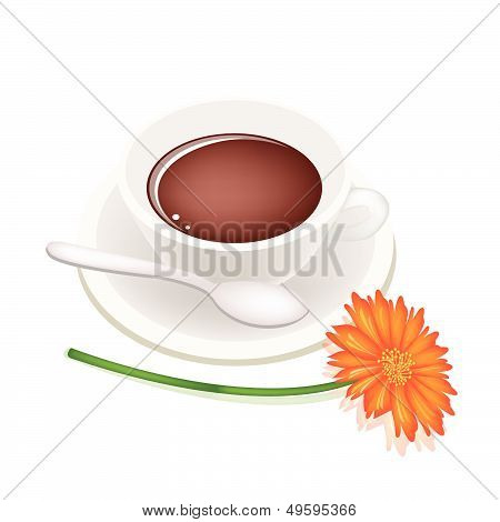 A Cup Of Hot Coffee And Daisy Flower