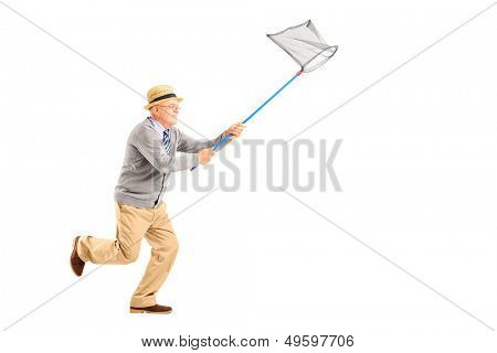 Full length portrait of a mature man running with butterfly net isolated on white background