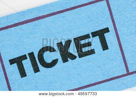 Blue ticket stub macro detail.