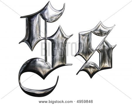 Metallic Patterned Letter Of German Gothic Alphabet Font. Letter S