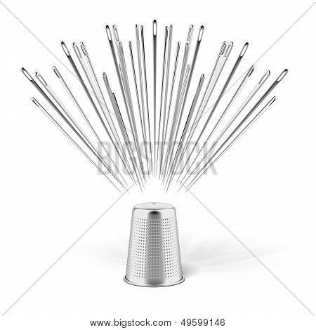 silver thimble and needles