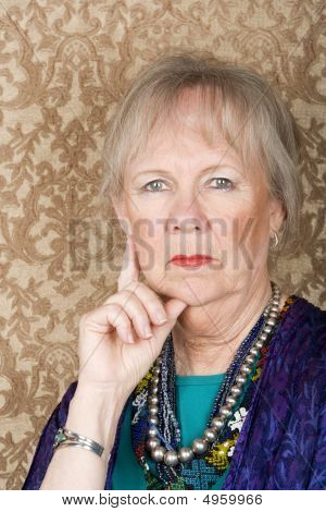 Skeptical Senior Woman