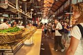 Tourists Visiting The Famous San Miguel Market, Madrid