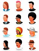 pic of rastafari  - Vector illustration Set of people icons  - JPG