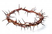 foto of passion christ  - crown made of thorns isolated on white background - JPG
