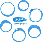 stock photo of zero  - Blue marker paint vector circles set - JPG