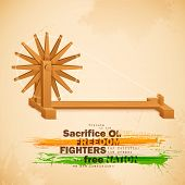 picture of gandhi  - illustration of spinning wheel on India background - JPG