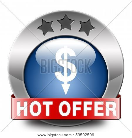 hot offer icon or sign for online internet web shop. Webshop shopping sales button announcing bargain for low and best price with the best value for you money.
