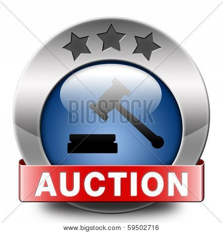 Auction sign online sale bidding and buying real estate cars and houses blue button or icon