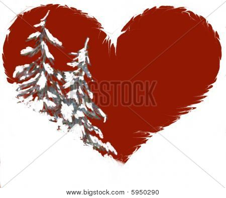 Abstract silvery Pine or Christmas Tree In Heart