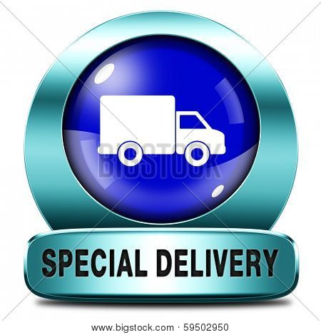 special delivery shipping web shop package online internet order from webshop blue metal  icon or button