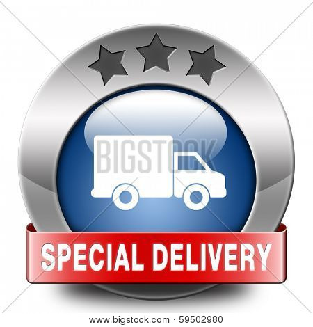 special delivery shipping web shop package online internet order from webshop icon or button