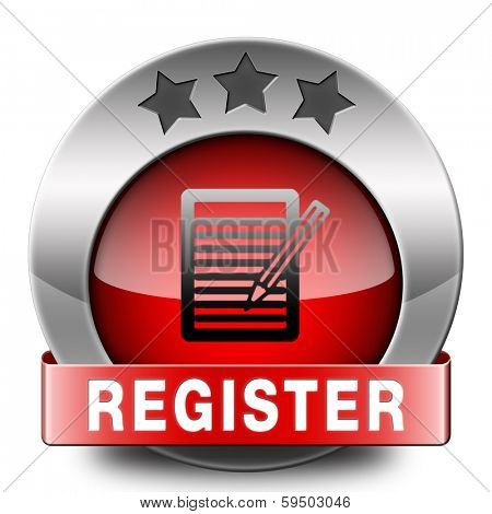 register here and now red sign or icon. Membership registration button or sticker.