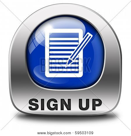 sign up or apply now blue icon and subscribe here for membership. Fill in application form metal button.