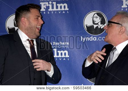 SANTA BARBARA - FEB 6:  Jonah Hill, Martin Scorsese at the Santa Barbara International Film Festival Honors Scorsese & DiCaprio at Arlington Theater on February 6, 2014 in Santa Barbara, CA