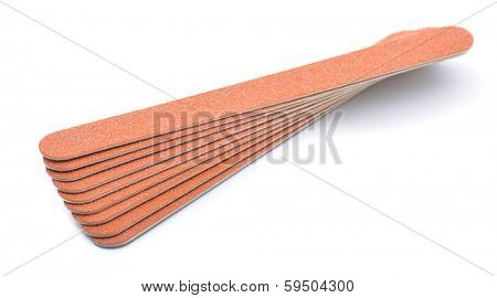 Stack of flexible emery board used in manicures and pedicures