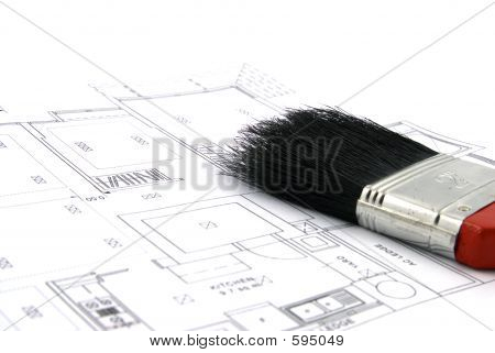 Floor Plan And Paint Brush