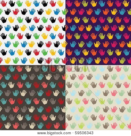 Hand In Seamless Pattern. Multicolor Set