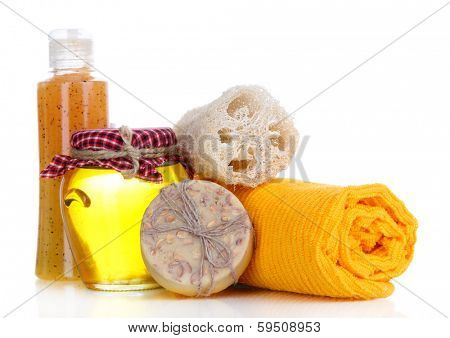 Spa and massage settings with natural honey, isolated on white