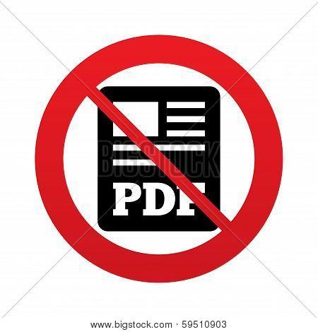 No PDF file document icon. Download pdf button.