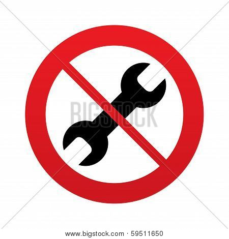 No Repair tool sign icon. Service symbol.