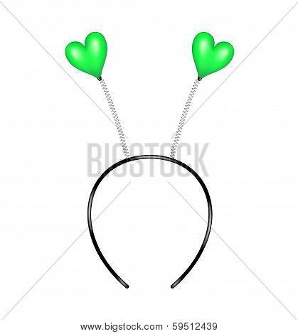 Headband with green hearts