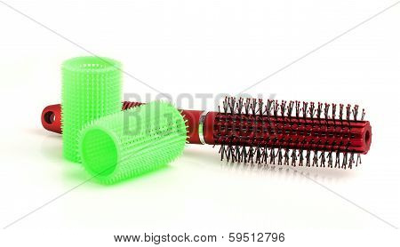 Round Hair Brush And Curler.