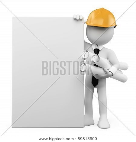 3D White People. Architect With A Blank Poster