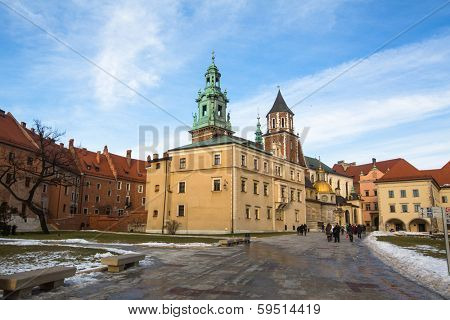 KRAKOW, POLAND - FEB 5, 2014: View of Royal Archcathedral Basilica of Saints Stanislaus and Wenceslaus on the Wawel Hill. More than 900 years old, it is the Polish national sanctuary.